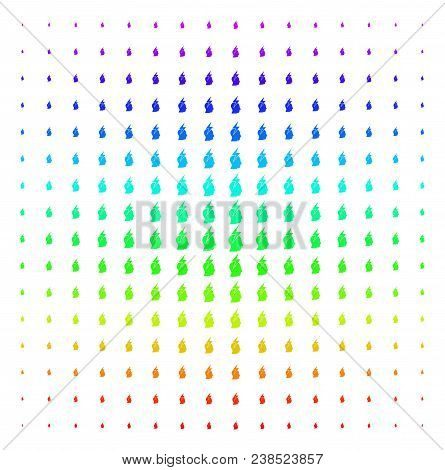 Person Stress Strike Icon Spectral Halftone Pattern. Vector Person Stress Strike Symbols Arranged In