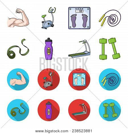 Measuring Tape, Water Bottle, Treadmill, Dumbbells. Fitnes Set Collection Icons In Cartoon, Flat Sty