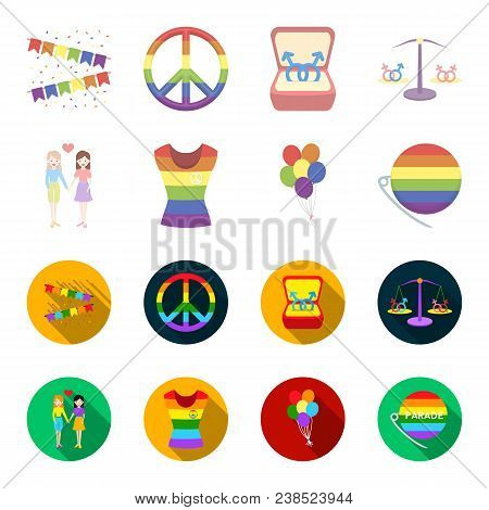 Lesbians, Dress, Balls, Gay Parade. Gay Set Collection Icons In Cartoon, Flat Style Vector Symbol St