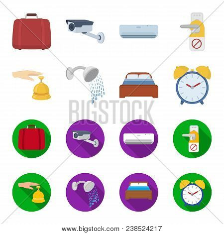 Call At The Reception, Alarm Clock, Bed, Shower.hotel Set Collection Icons In Cartoon, Flat Style Ve