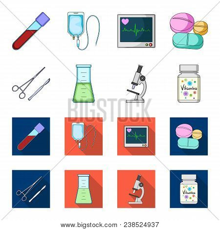 A Bank Of Vitamins, A Flask With A Solution And Other Equipment.medicine Set Collection Icons In Car
