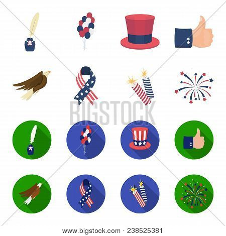 American Eagle, Ribbon, Salute. The Patriot Day Set Collection Icons In Cartoon, Flat Style Vector S