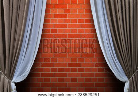 Open Curtains On Brick Wall Background.conceptual Background.