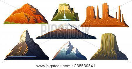 Mountains Peaks, Landscape Early In A Daylight, Big Set. Monument Valley, Matterhorn, Roraima, Fuji