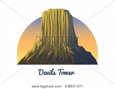 Devils Tower National. Monument Peaks, Landscape Early In A Daylight. Travel Or Camping, Climbing. O