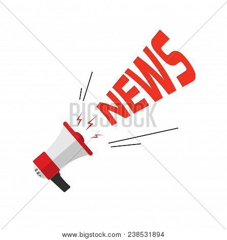 News Announcement Via Bullhorn, Flat Cartoon Loud Speaker With News Text Isolated On White
