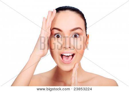 Portrait of a young woman open-mouthed with astonishment. Isolated over white background.