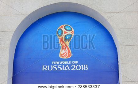 St. Petersburg, Russia - April 9, 2018: Fifa World Cup Russia 2018 Official Symbol At Fan Registrati