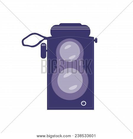 Vintage Twin Lens Reflex Camera Icon. Old Manual Photographic Equipment In Flat Style. Retro Photogr