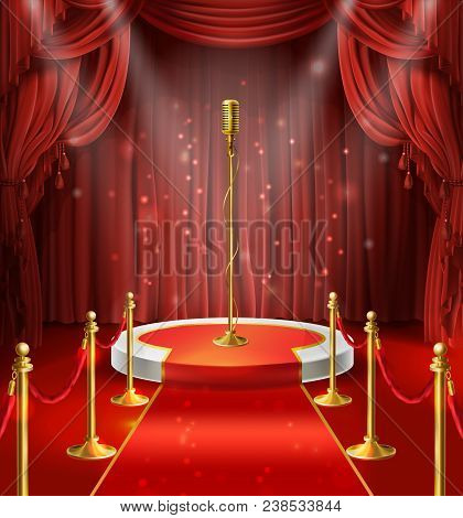 Vector Illustration With Golden Microphone On Podium, Red Curtains. Stage For Stand Up, Performance