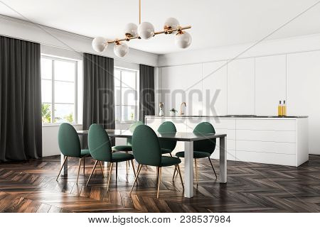 Luxury Dining Room And Kitchen Interior With A Dark Wooden Floor, White Walls, Large Windows With Cu