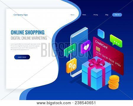 Isometric Online Shopping Concept. Digital Online Marketing Commerce Sale Concept. Best Presents. Ve