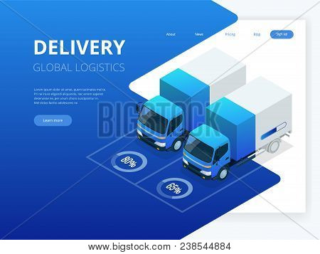 Isometric Logistics And Delivery Infographics. Delivery Home And Office. City Logistics. Warehouse,