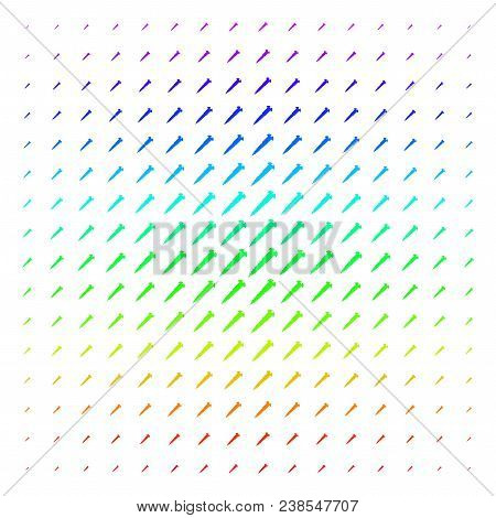 Screw Icon Rainbow Colored Halftone Pattern. Vector Screw Objects Organized Into Halftone Grid With