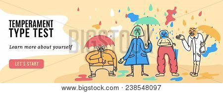 Temperament Online Test Webpage Banner With 4 Fundamental Personality Types Characters Funny Symboli