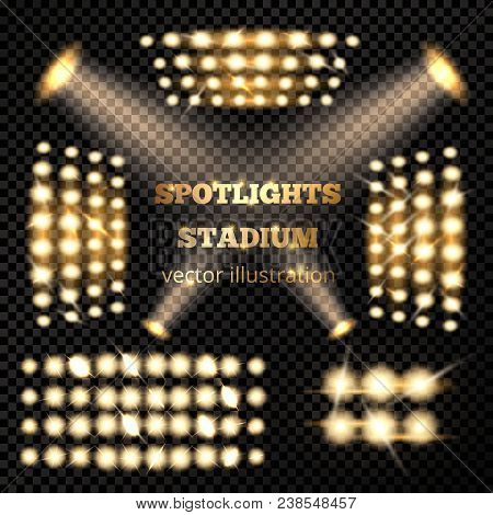 Stadium Spotlights Gold Set With Soffits And Emitters On Dark Transparent Background Realistic Isola