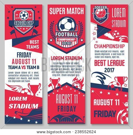Football Sport Game Championship Match Banner Set With Soccer Ball, Trophy And Stadium. Sporting Are