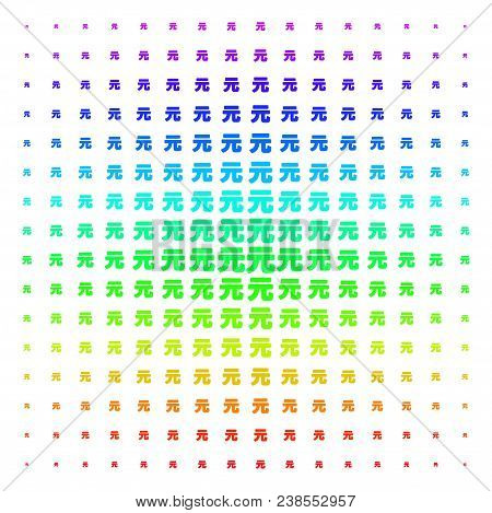 Yuan Renminbi Icon Rainbow Colored Halftone Pattern. Vector Yuan Renminbi Objects Organized Into Hal