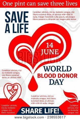 Heart With Drop Of Blood Medical Banner For Blood Donation Template. World Blood Donor Day Promo Fly
