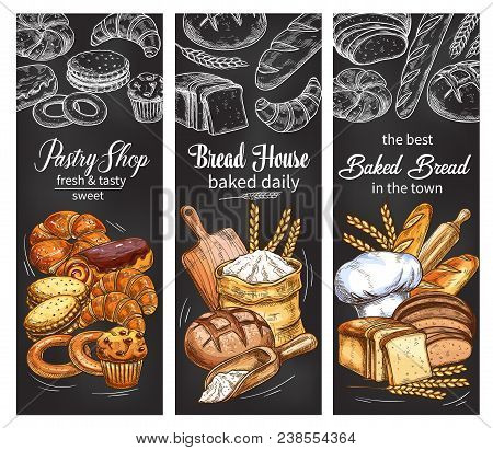 Bakery And Pastry Shop Chalkboard Banner Set With Bread And Bun Chalk Sketch. Rye Bread, Wheat Bague