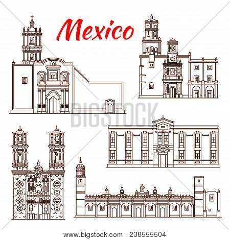 Mexican Travel Landmark Thin Line Icon Of Religious Tourist Sights. Church Of Saint Prisca, Convent