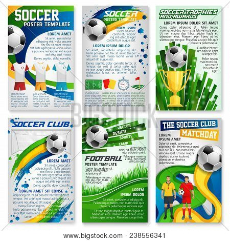 Football Game Banner Set Of Soccer Sport Club Template. Football Team Player With Soccer Ball And Wi