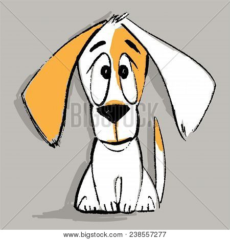 Puppy Character In Vector. Funny Cartoon Small Pet. Vector Illustration. Cute Doggy Sitting Isolated