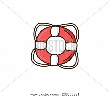 Life Buoy Doodle. Vector Hand Drawn Illustration Of Lifeguard Buoy For Sos Assistance. Nautical Icon