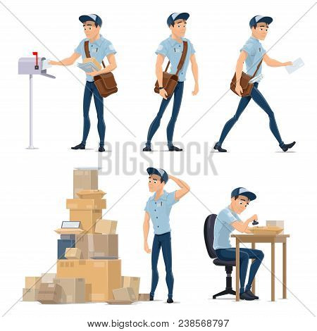 Postman Cartoon Icon For Postal Service Occupation. Mailman In Blue Uniform With Bag Delivering Lett