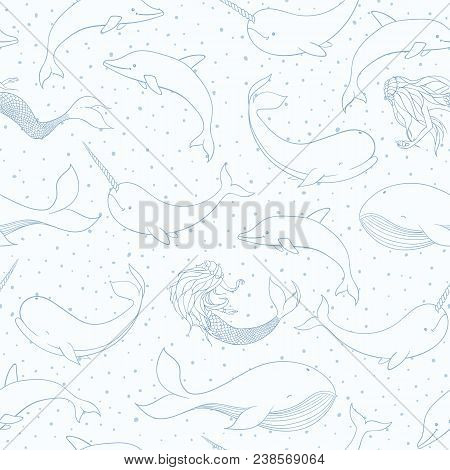 Vector Seamless Pattern With Whales, Mermaids, Narwhals And Dolphins Outline On The Dotted Blue Back
