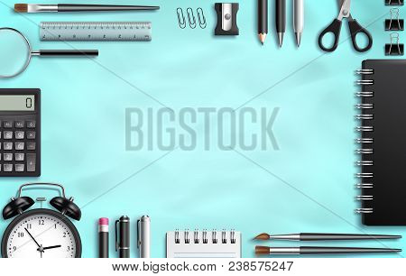 School Supplies Set Vector Background Template With Black Office Items, Stationery And Blank Empty S