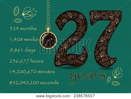 Time Counting Card. Number 27 And Pocket Watch