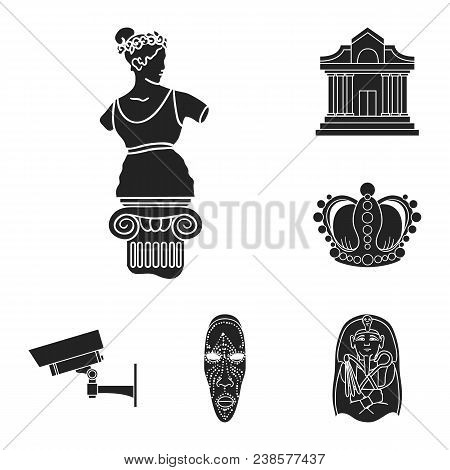 Museum And Gallery Black Icons In Set Collection For Design. Storage And Exhibition Of Showpiece Vec