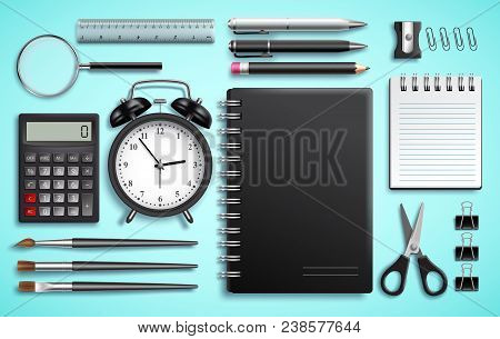 Vector Set Of School Items And Office Supplies Or Modern Business Stationery Like Notebook, Pens And