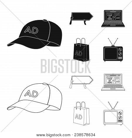 Baseball Cap, Pointer In Hands, Laptop, Shopping Bag.advertising, Set Collection Icons In Black, Out