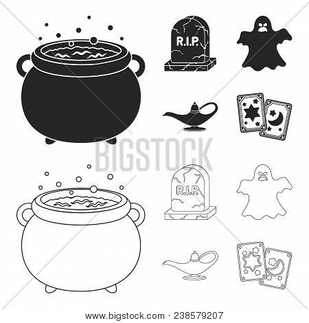 A Witch Cauldron, A Tombstone, A Ghost, A Gin Lamp.black And White Magic Set Collection Icons In Bla