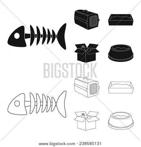 Fish Bone, Container For An Animal, Cat Toilet, Cat In A Box. Cat Set Collection Icons In Black, Out