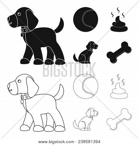 Dog Sitting, Dog Standing, Tennis Ball, Feces. Dog Set Collection Icons In Black, Outline Style Vect