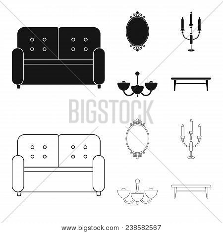 Sofa, Mirror, Candlestick, Chandelier.furniturefurniture Set Collection Icons In Black, Outline Styl