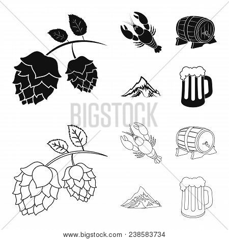 Alps, A Barrel Of Beer, Lobster, Hops. Oktoberfest Set Collection Icons In Black, Outline Style Vect