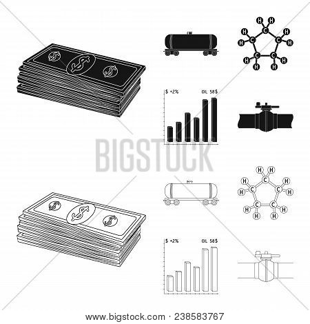 Railway Tank, Chemical Formula, Oil Price Chart, Pipeline Valve. Oil Set Collection Icons In Black,