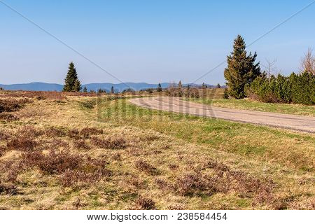 French Landscape - Vosges. A Winding Mountain Road In The Vosges.
