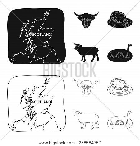 Territory On The Map, Bull Head, Cow, Eggs. Scotland Country Set Collection Icons In Black, Outline