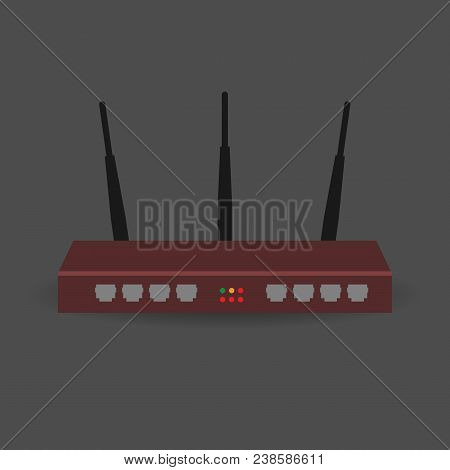 Modern Realistic Wireless Router With The Antenna For Internet Connection. Wireless Router Vector Il