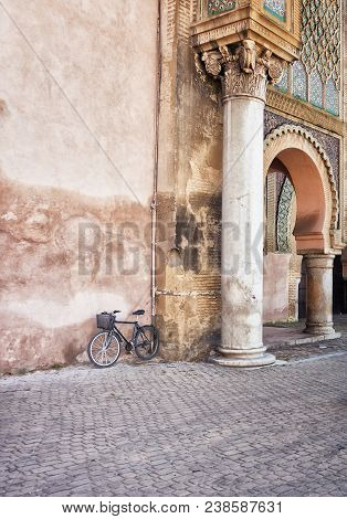 poster of Bicycle and the Bab el-Mansour column, Morocco, Africa