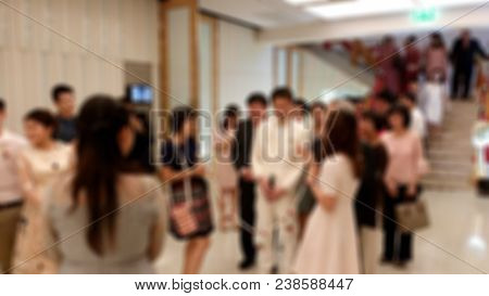 Wedding In The Hotel. And The Bride Out To Greet The Bridegroom. There Are Many Guests In Attendance