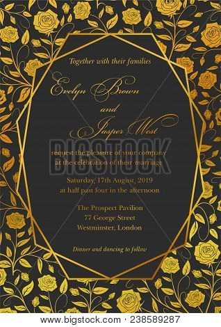 Wedding Invitation, Roses Floral Invite Card Design With Geometrical Art Lines, Golden Foil Border,