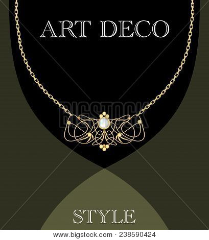 Art Deco Jewel. Vintage Gold Necklace In Victorian Style. Retro Filigree Antiquarian Jewelry. Ancien