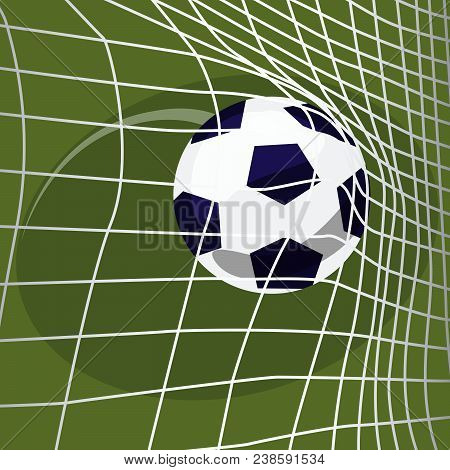 Scoring Goal. Soccer Ball Falls Into Net Of Football Goal. Win Or Lose Concept