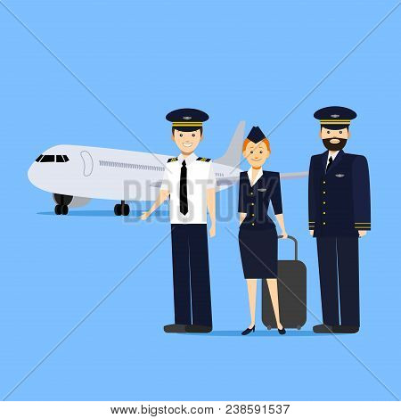Cartoon Aviation Crew Members And Aircraft On Blue Background Professional Concept Element Flat Desi
